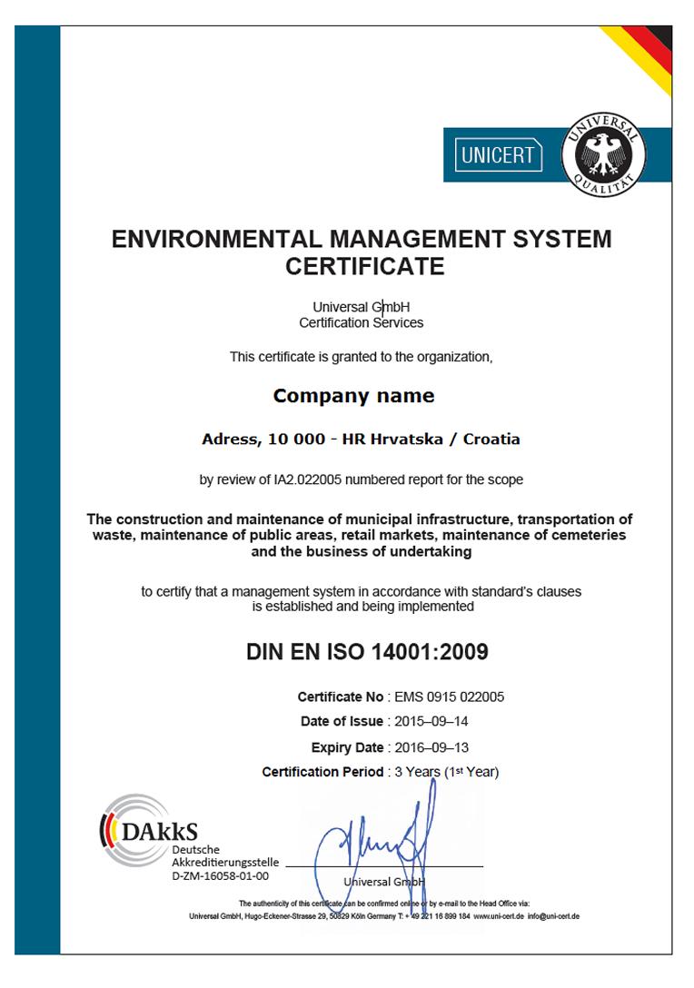 UNICERT certifikat 14001