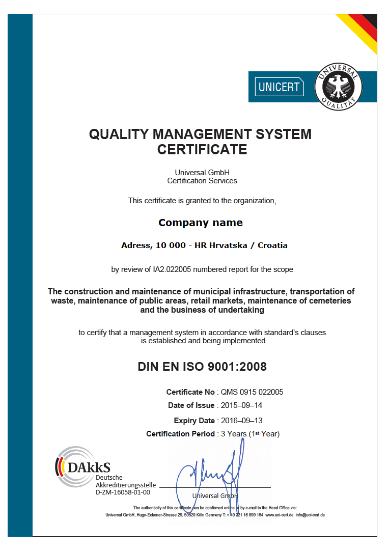 UNICERT certifikat 9001